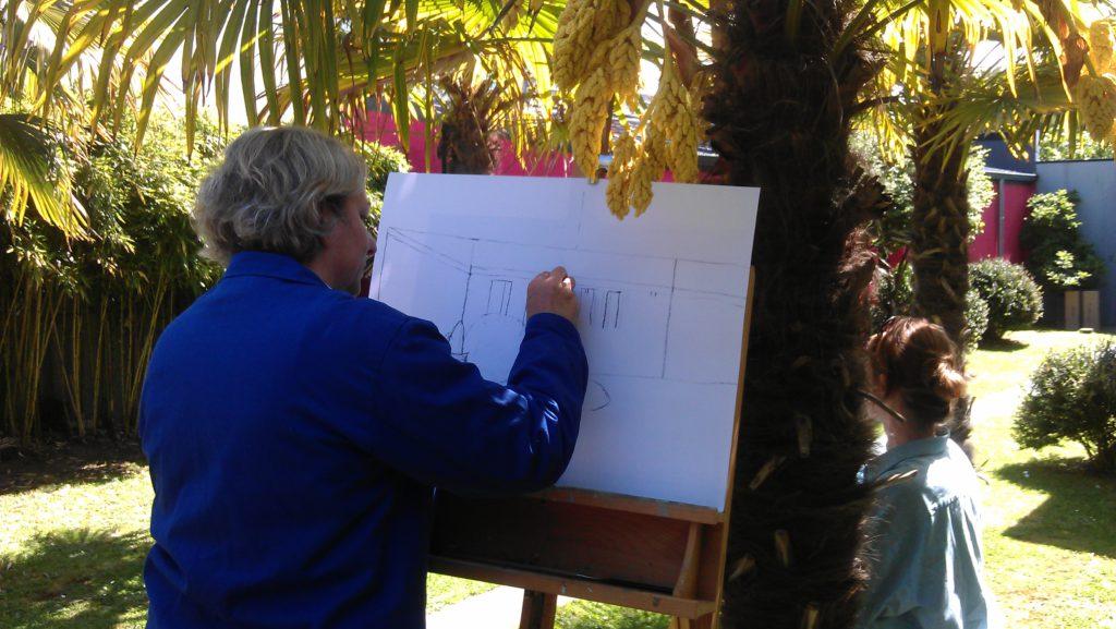 Dessin dans le jardin de l'atelier - Cours dessin peinture - Atelier COOL HEURE
